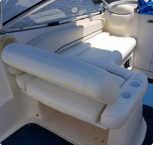 White Boat Seat Upholstery with Blue Piping