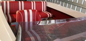 Boat seat upholstery - retro red and white