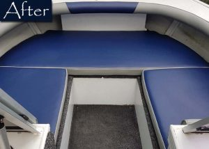 Blue Grey Boat Upholstery After