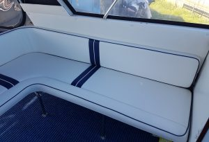 White with Blue Outside Boat Cushions